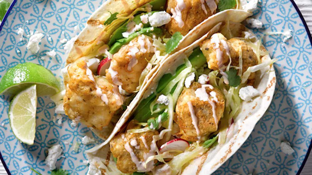 Baja style fish tacos with chipotle mayo