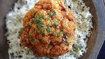 "<a href=""http://kitchen.nine.com.au/2016/06/06/12/29/spicy-whole-roasted-cauliflower"" target=""_top"">Spicy whole roasted cauliflower </a>recipe"