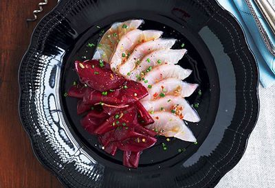Mulloway and beetroot pickle sashimi