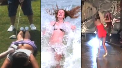 Being a model can be painful, and the scantily-clad Elizabeth Dickson is the latest to prove it. Click through to watch the brave lengths beauties have gone to in the past, from high-heeled catwalk catastrophes to being crushed by a wave during a photo shoot.