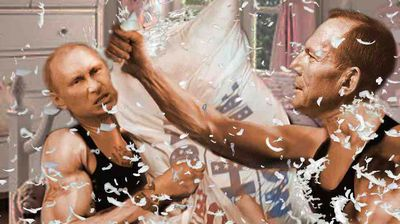 <p>The two leaders show a softer side by settling their differences with a pillow fight. </p>