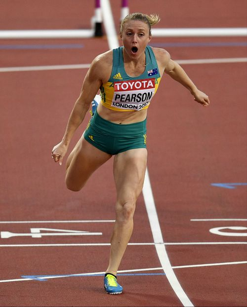 Pearson reacts after winning the 100m hurdles at the 2017 World Championships in London. (AAP)