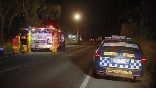 Police and fire crews attending to the scene of the crash near Victoria-South Australian border.