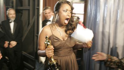 Jennifer Hudson backstage after winning Best Supporting Actress at the Academy Awards for her performance in Dreamgirls