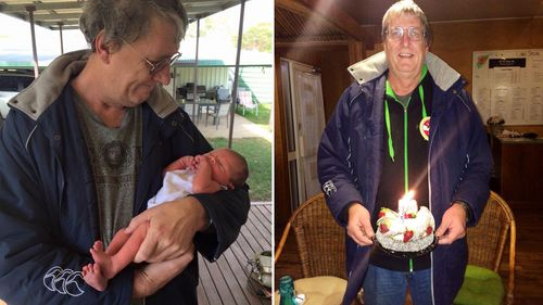 Mr Lloyd and one of his grandchildren (left) and celebrating a birthday (right).