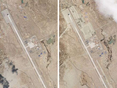 This combination of two satellite photos of the Ngari Günsa civil-military airport base taken on April 1, left, and May 17, 2020, near the border with India in far western region of Tibet in China show development around the airport. Tensions along the China-India border high in the Himalayas have flared again in recent weeks.
