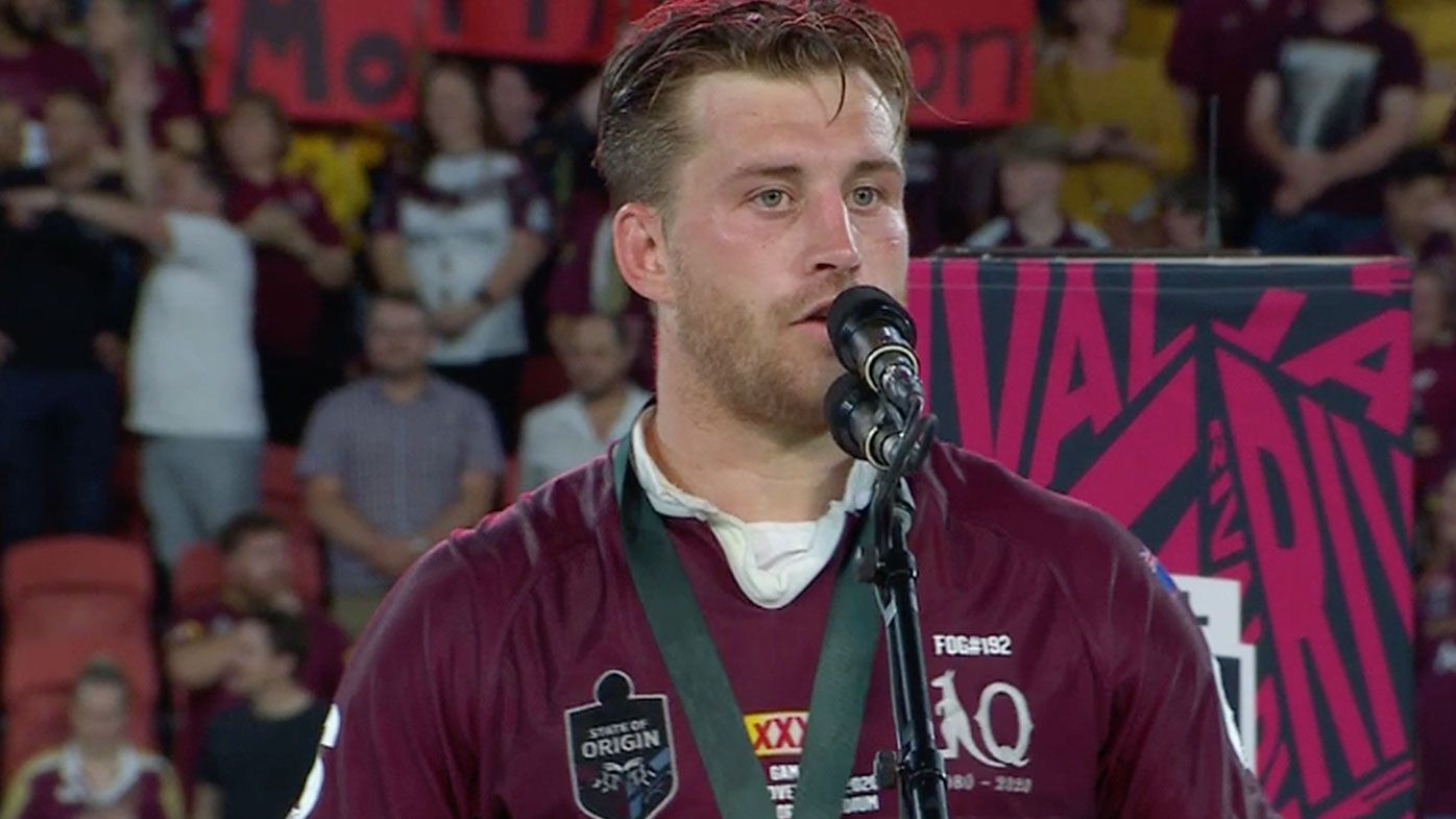Munster's awkward f-bomb during Wally Lewis Medal speech