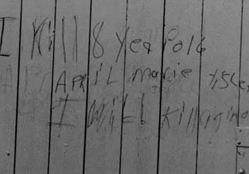 In 1990, two years after April Tinsley's death, police believe her killer scrawled this message on a barn door near where her body was recovered. It claimed responsibility for her murder and warned of further killings. (Photo: FBI).