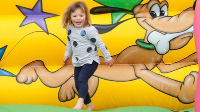 Mia Tindall gets her bouncy slide fix, April 2017