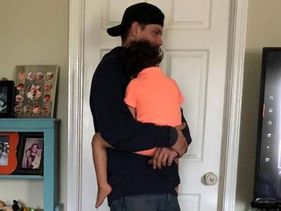 Tradie comforts boy in USA