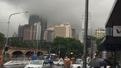 'Fractostratus' clouds blanketed the Sydney CBD. (BOM New South Wales)
