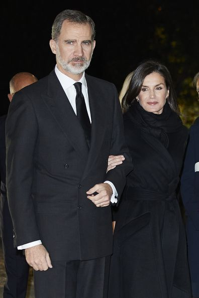 King Felipe VI of Spain and Queen Letizia of Spain attend Placido Arango's funeral at Los Jeronimos on March 04, 2020.