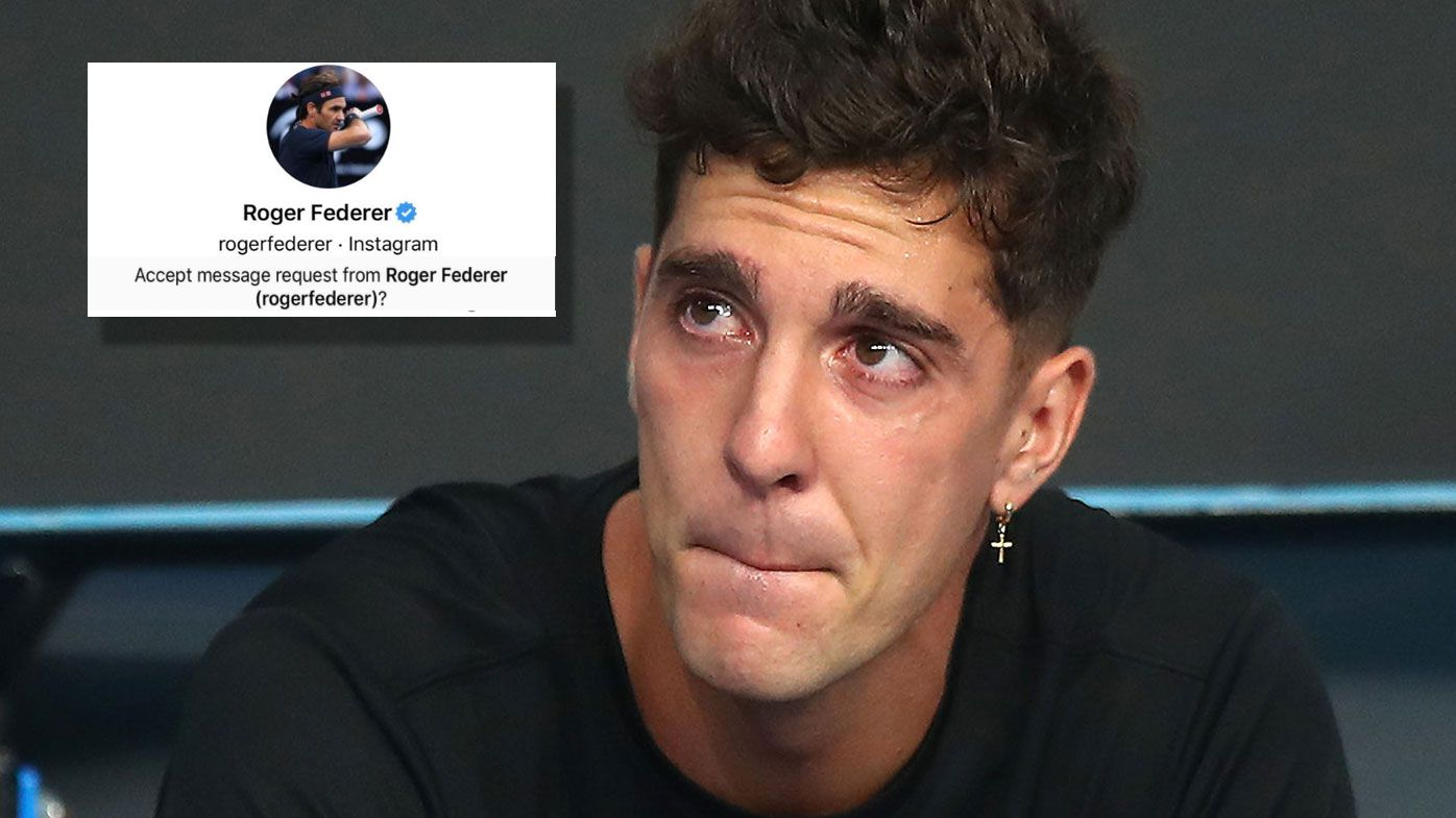 Kokkinakis receives a message of congratulations from Roger Federer. (Getty)