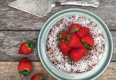 Healthy strawberry lamington cake