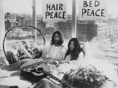 John Lennon and Yoko Ono's bed-in protest in Amsterdam.