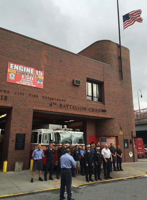 Members of the Battalion Four fire crew in New York. (Simon Bouda/9NEWS)