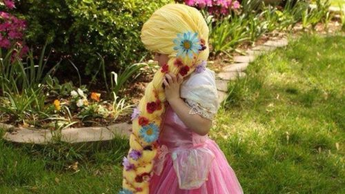 The Rapunzel wig as modelled by a young cancer patient. (GoFundMe)