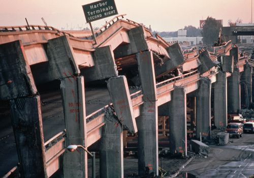 The remains of the Cypress Freeway, which ran through the centre of Oakland, following the San Francisco, or Loma Prieta, Earthquake of 1989. The freeway literally collapsed like a house of cards. Although the quake hit at 5:04PM on a weekday, amazingly only 42 people were buried and killed by the falling roadway.