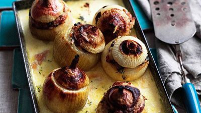 "Recipe:&nbsp;<a href=""http://kitchen.nine.com.au/2016/05/16/15/38/whole-roasted-stuffed-onions-with-cream-parmesan-and-mushrooms"" target=""_top"">Whole roasted stuffed onions with cream, Parmesan and mushrooms</a>"