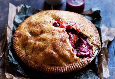 Rhubarb and apple pie with warm cinnamon custard