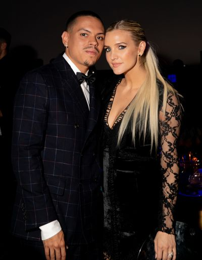 Singers Evan Ross and Ashley Simpson at the 2018 amfAR Gala in Milan, September, 2018