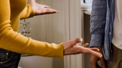 Couple fighting at home in bedroom