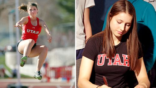 Lauren McCluskey (left) competes during the Utah Track and Field Spring Classic in Salt lake City. In 2014 (right), then Pullman High School senior McCluskey signs a letter of intent to compete in track for the University of Utah.