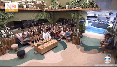 Big Brother Brazil contestants moments before learning about the coronavirus crisis.