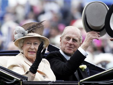 The Queen and Prince Phillip are seen arriving in the Royal Carriage on the third day of Royal Ascot 2005.