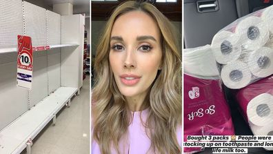 Bec Judd, Coles, supermarket, shelves, empty, toilet paper