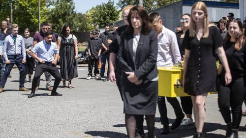 Hundreds gathered to farewell Tayla at her funeral at the Hampstead Rugby Club rooms in Ashburton last Thursday