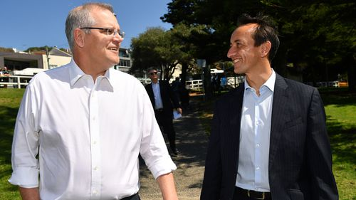 Scott Morrison pictured with Dave Sharma in Sydney yesterday.
