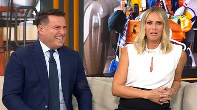 Karl Stefanovic and Sylvia Jeffreys talk to Space Invaders host Peter Walsh