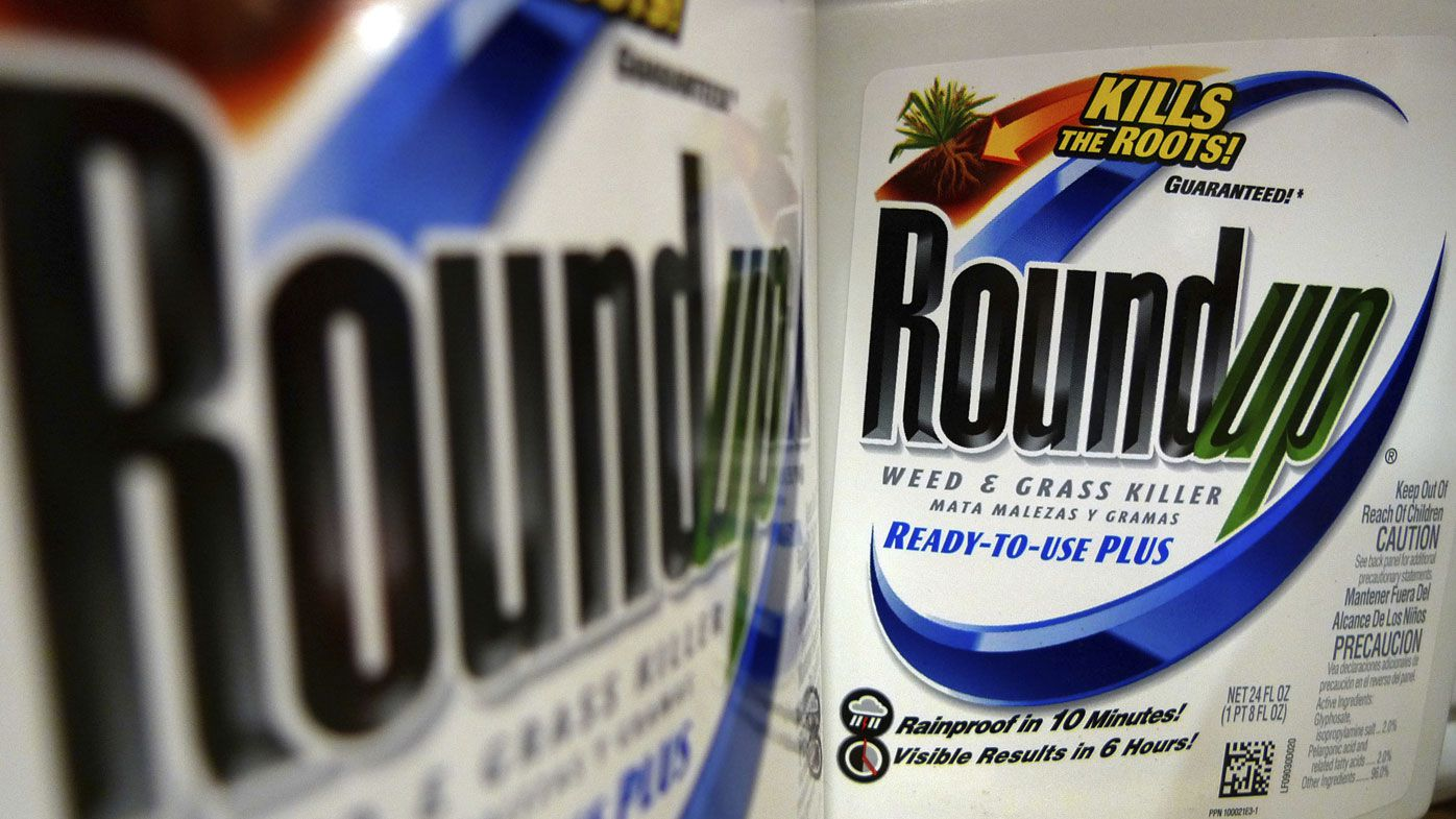 Bottles of Roundup herbicide.