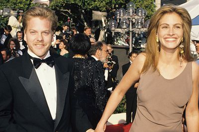 Julia had just seen huge success with <i>Steel Magnolias</i> and <i>Pretty Woman </i> and walked the carpet with then-finance Kiefer Sutherland.  Due to be married in 1991, Julia called the wedding off just three days before - the beginning of her runaway bride years!