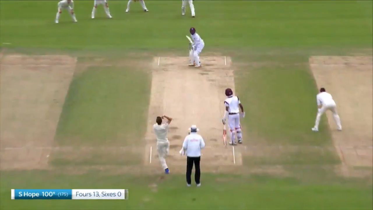 Shai Hope scores his second hundred of the Test
