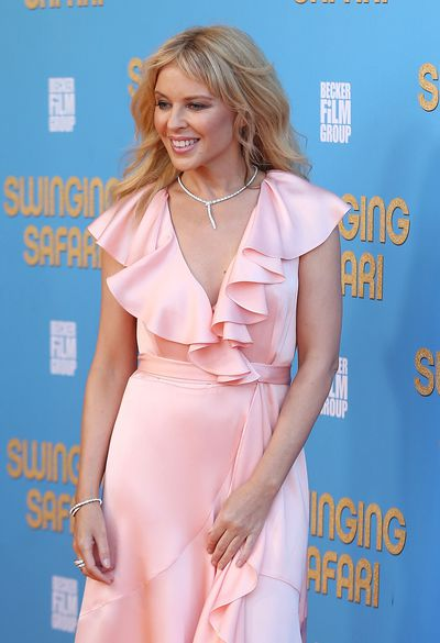 Kylie Minogue in Temperley at the <em>Swinging Safari</em> premiere in Sydney, Australia.&nbsp;
