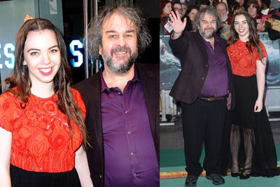 Director Peter Jackson walks his daughter Katie hand-in-hand down the carpet. Awwww. Daddy-daughter day out!