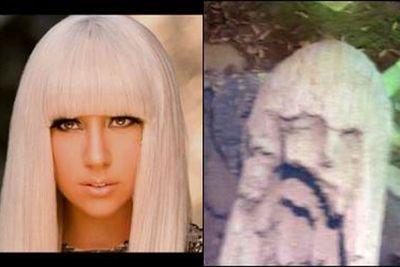 What does Lady Gaga look like here? No, it's not a face mould. No, it's not a sculpture. Lady Gaga looks like a random rock face. Yup, a rock.<p><b>Image</b>: totallylookslike.com