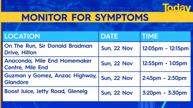 Anyone who visited the above locations are urged to get tested, isolate and monitor for symptoms.