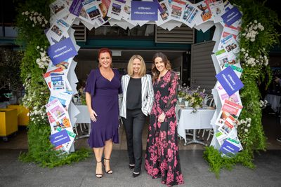 9Honey's Shelly Horton with Helen McCabe and Kerri Elstub at the '9Honey Turns Two' celebration held in Sydney, October 12, 2018.