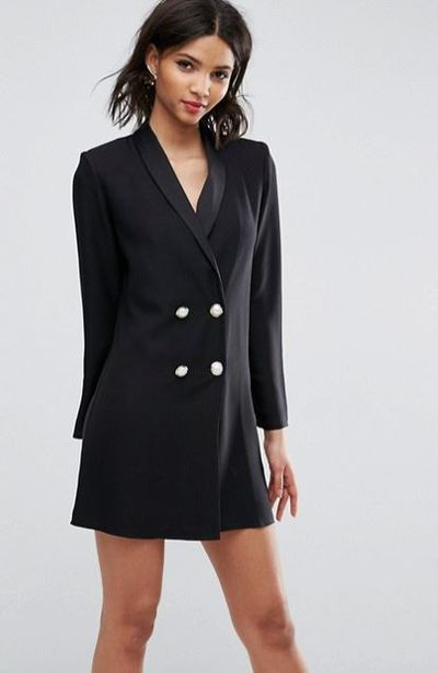 "<a href=""http://www.asos.com/au/asos/asos-ultimate-tux-blazer-mini-dress-with-pearl-buttons/prd/8575651?r=1"" target=""_blank"">ASOS Tux Blazer Mini Dress with Pearl Buttons</a>, $56"