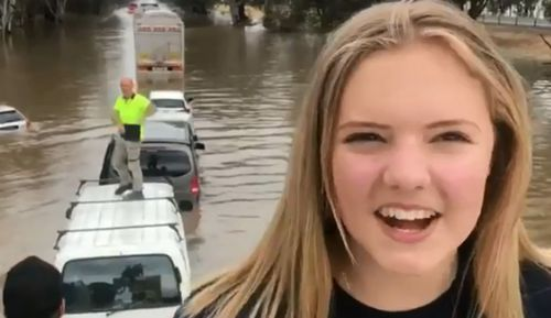 Destiny McPhail, 16, was travelling with her family from Wangaratta to Wodonga for work when the torrential rain struck near Byawatha in Central Victoria.