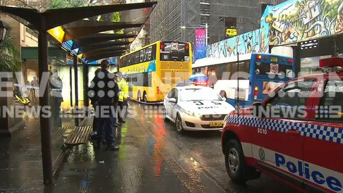 The man was stabbed at the Carrington Street stop. (9NEWS)