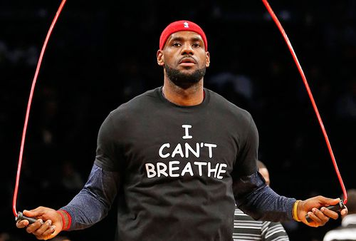 NBA star LeBron James wears a message of support for Garner and his family.