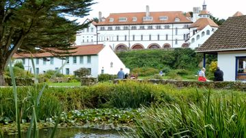 Caldey Island' monastery, home to a community of Cistersian Monks. Source; YouTube