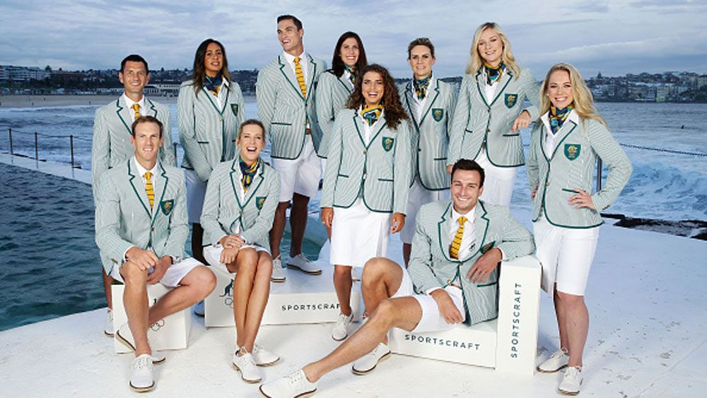 Athletes reveal the new uniform in Sydney. (AAP)