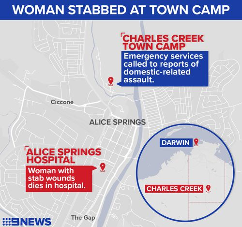 Woman stabbed to death in town camp near Alice Springs
