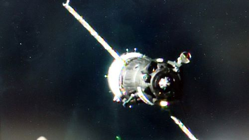The Soyuz MS-03 spacecraft approaches the International Space Station. (AFP / NASA TV)
