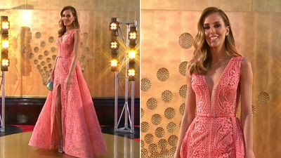 Weather presenter Rebecca Judd wore a plunging pink design by J'Aton.